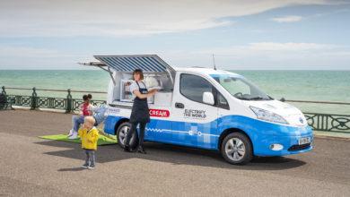 אישה מפעילה אוטו גלידה חשמלי של ניסאן עם ילדים שאוכלים גלידה ליד