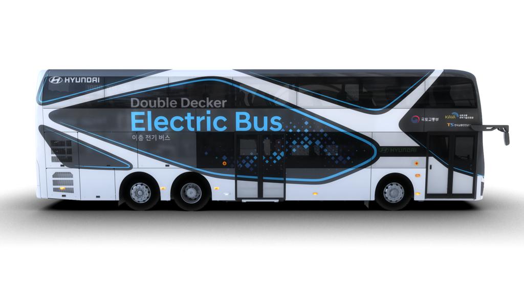 אוטובוס חשמלי דו קומתי של חברת יונדאי - מבט צד