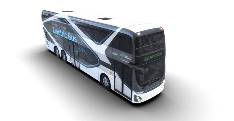 אוטובוס חשמלי דו קומתי של חברת יונדאי