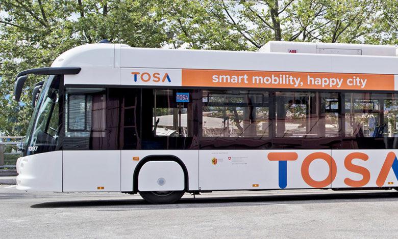 אוטובוס חשמלי עם הכיתוב TOSA