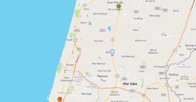 תמונה של מפה של עמדות טעינה בארץ