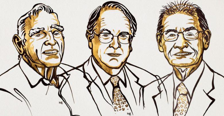 תרשים של שלושת זוכי פרס נובל בכימיה לשנת 2019