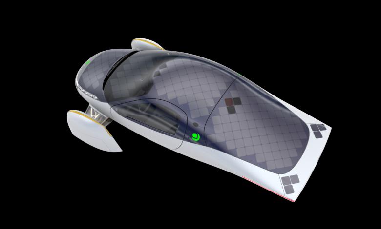 הדמיה של הרכב החשמלי של חברת Aptera עם תאים סולאריים על גג הרכב