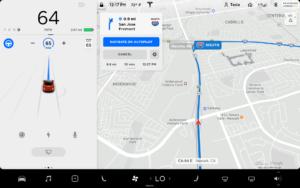 תצוגת המפה במצב Autopilot של טסלה במסך הרכב