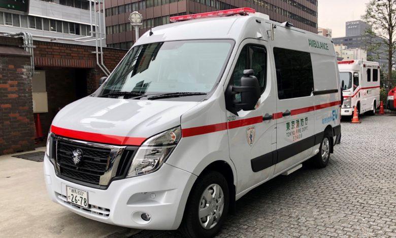 אמבולנס חשמלי של ניסאן ברחובות טוקיו יפן