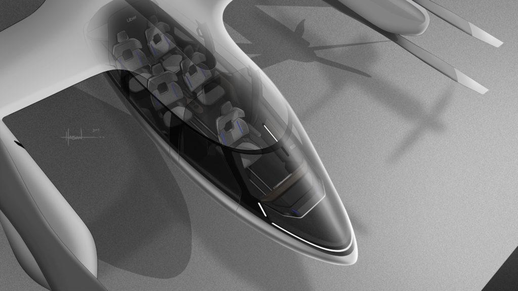 מבט על על תא הנוסעים של המונית המעופפת