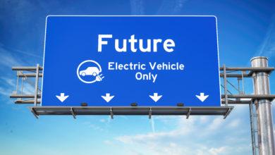 שלט כחול מעל כביש ראשי עם הכיתוב - עתיד: רכבים חשמליים בלבד