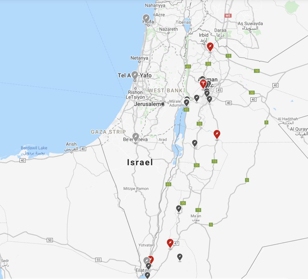 מפת הסופרצרגרס של טסלה בישראל עם תכנון עתידי