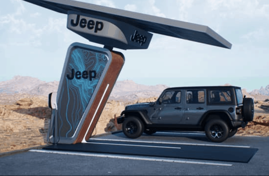 עמדת טעינה סולארית עם רכב חשמלי של ג׳יפ