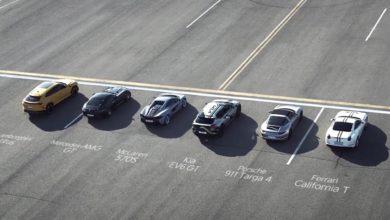 רכב חשמלי של קיה EV6 מול מכוניות על על המסלול
