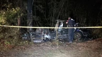 תמונות מזירת התאונה של רכב של טסלה בארצות הברית