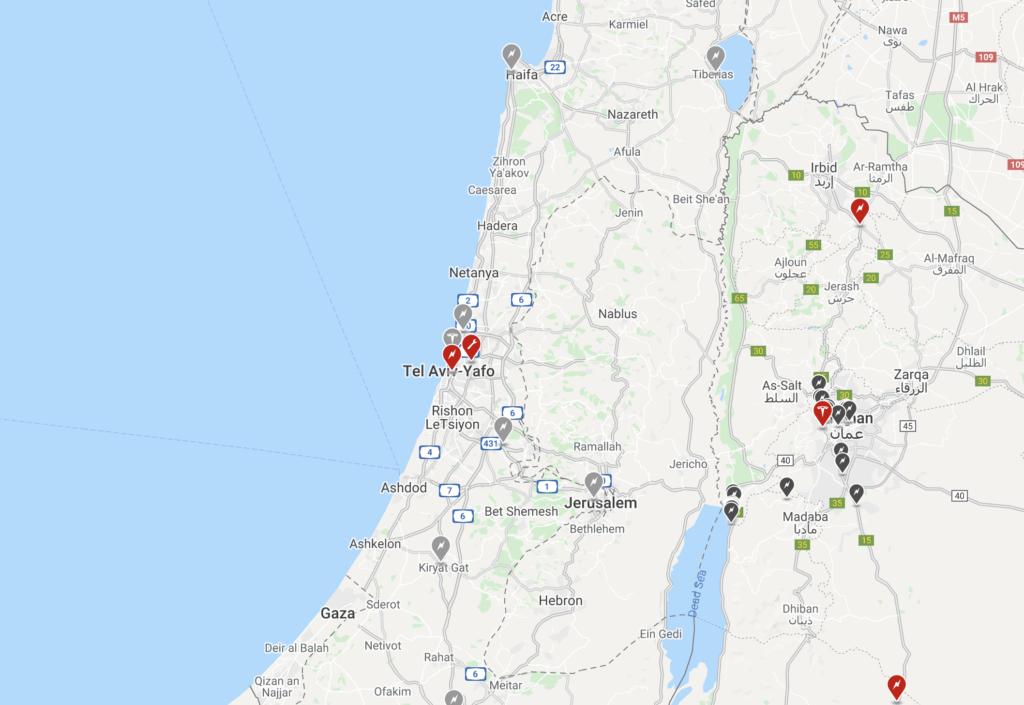 מפת עמדות טעינה של טסלה כפי שהיא מפורסמת באתר החברה