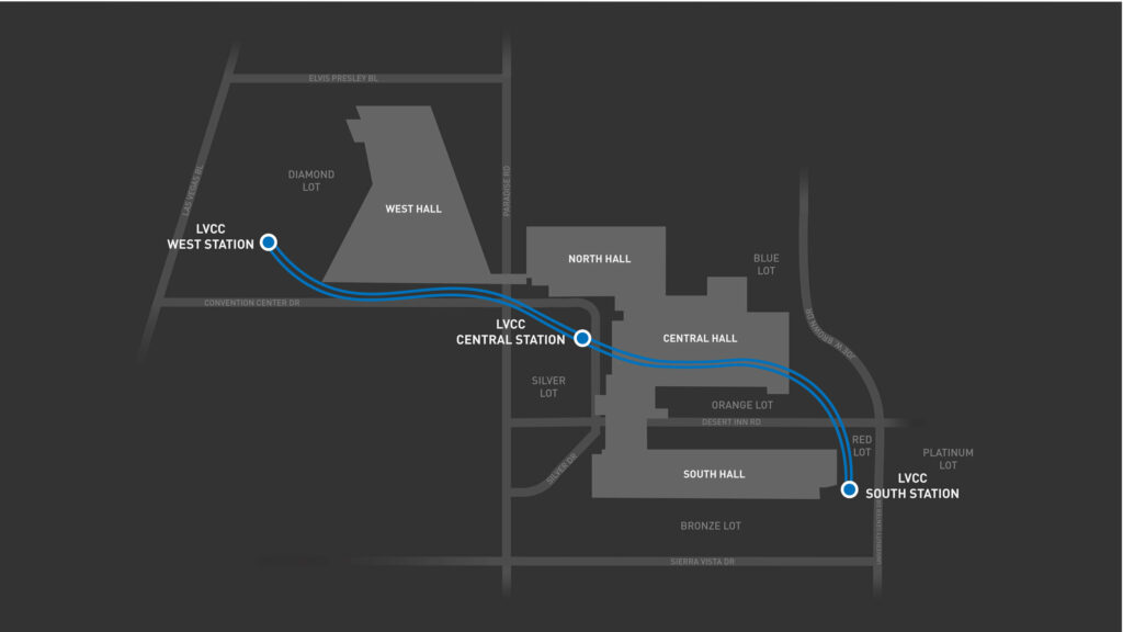 מפת הלופ בלאס וגאס של The Boring Company המחברת בין התחנות
