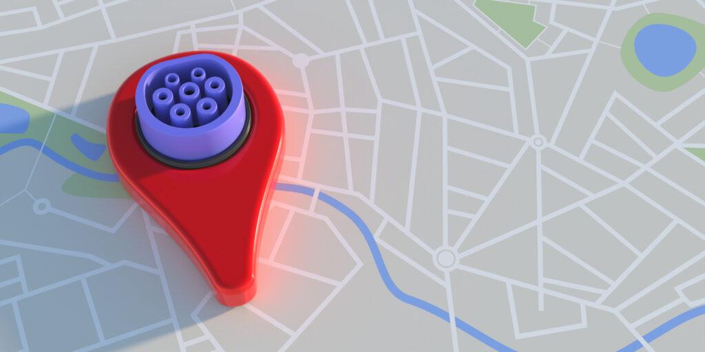 סימון של עמדת טעינה עם שקע Type2 על מפה אינטרנטית