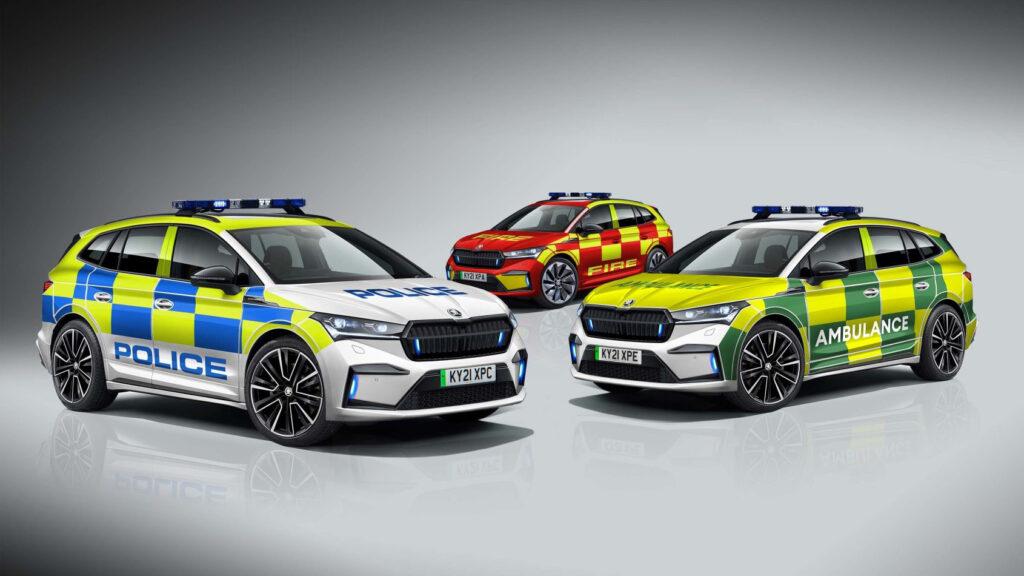 רכבי ביטחון וחירום חשמליים מסוג סקודה אניאק iV בבריטניה